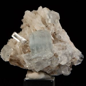 Aquamarine (Beryl) on Albite